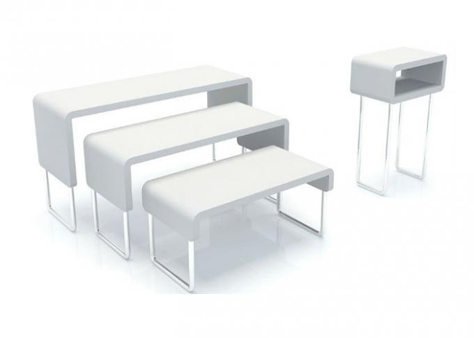 Pure White High Grade Nesting Display Tables Simple Style Customized For Supermarket