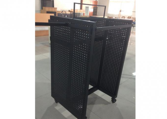 Black Powder Coated Gondola Display Stands Floor Standing With Four Sides View