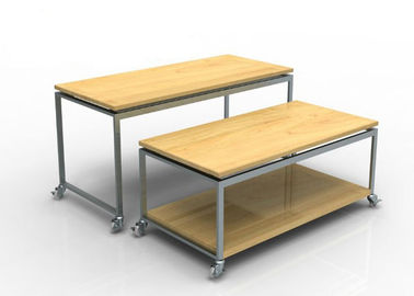 China Recyclable Display Nesting Tables Wooden , Mobile Space Saving Boutique Display Table supplier