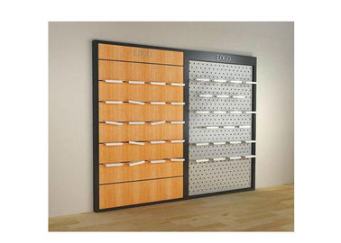 China Metal Frame Wall Mounted Shelf Unit For Shoes Stores , Customized Wooden Shoe Display Case supplier