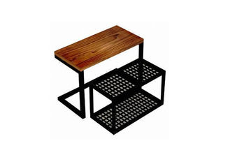 China Practical Wood Mobile Nesting Display Tables Space Saving For Shopping Mall supplier