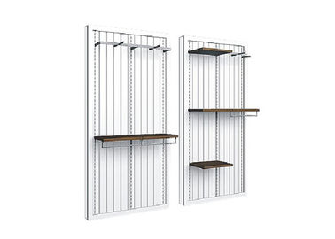 China White Wooden Wall Mounted Display Racks Middle Size Eco - Friendly For Shopping Mall supplier