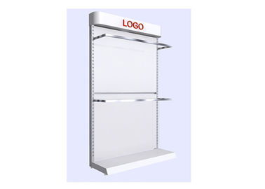 China Commercial Retail White Shelving Unit , Simple Style Wall Display Case For Supermarket supplier