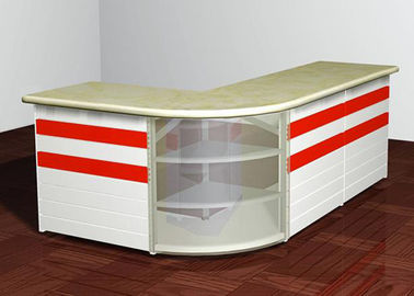 China L - Shaped Front Desk Retail Checkout Counter Middle Size For Shopping Mall supplier