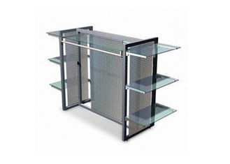 China Clear Termpered Glass Shelf Garment Display Stand In Gray Color supplier