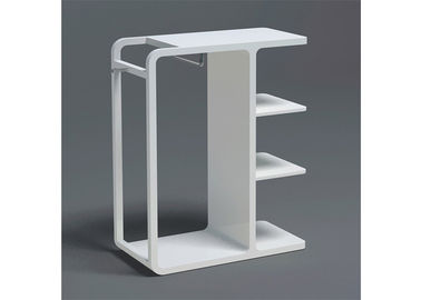 China High Glossy White Painted Garment Display Stand With Wooden Shelf supplier