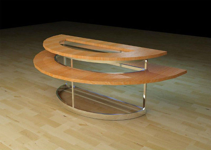 Two Layer Wooden Round Retail Display Tables , Modern Style Clothing Display  Table