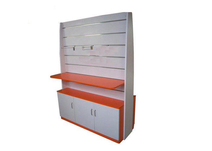 Exhibition Stand Shelves : Multi funcutional slatwall display stand with stand wooden