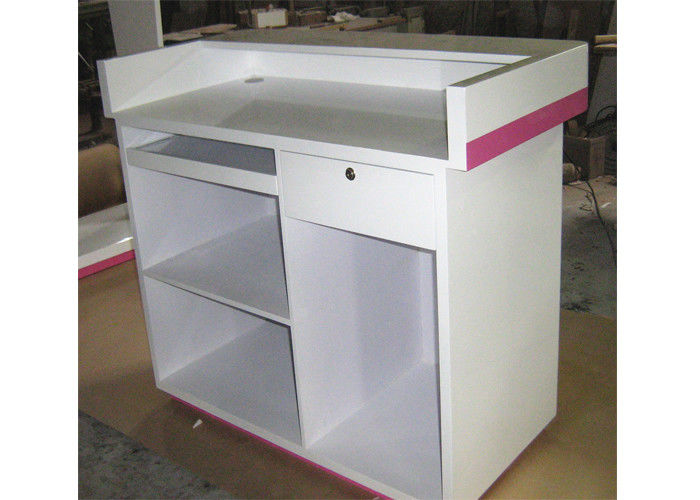 Modern Style Cash Wrap Counter With Drawer White Retail