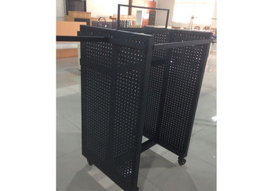 China Black Powder Coated Gondola Display Stands Floor Standing With Four Sides View factory