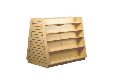 China Stacked Type Wood  Slatwall Display Stand Freestanding Space Saving For Retail Shop factory