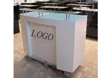 HDF Baking Glossy White Retail Checkout Counter Floor Standing With Printed Logo