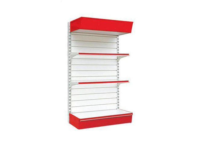 Supermarket Flooring Mounted Retail Store Fixtures , Heavy Duty Slat Board Shelving
