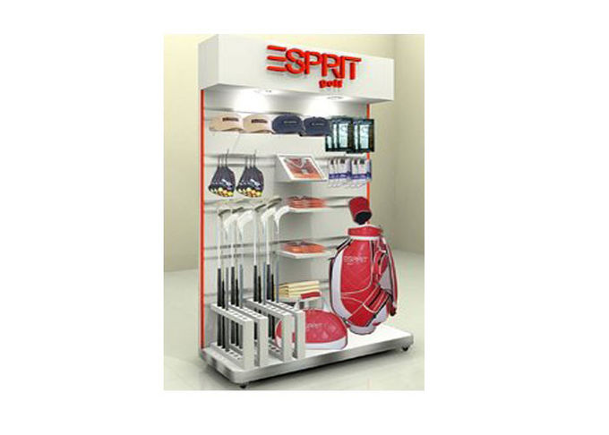 Sports Shop Wall Display Case , Wall Mounted Shelving Units For Displaying Bags Shoes Socks