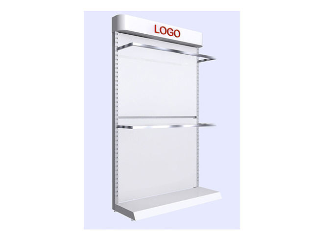 Commercial Retail White Shelving Unit , Simple Style Wall Display Case For Supermarket