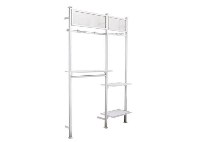 Metal Frame Wall Mounted Display Racks Light Duty Simple Style For Clothing Shop