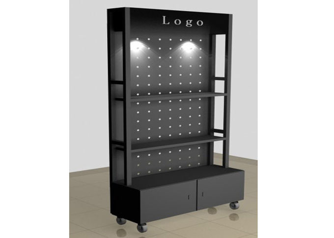 All Metal Black Retail Display Cabinets , Freestanding Shop Display Cabinets 1500  * 500 * 400MM