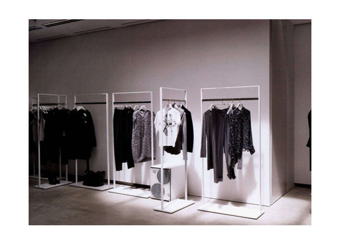 Elegant Clothes Shop Fittings Iron Powder Coated , White Complete Shop Fittings For Retail Store