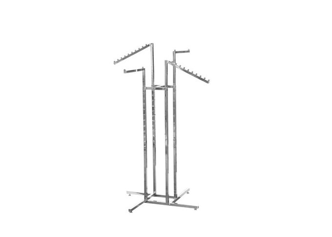 Stainess Steelcloth Rack Stand With Four Arms Hanging Bar , Customized Hanging Clothes Rail