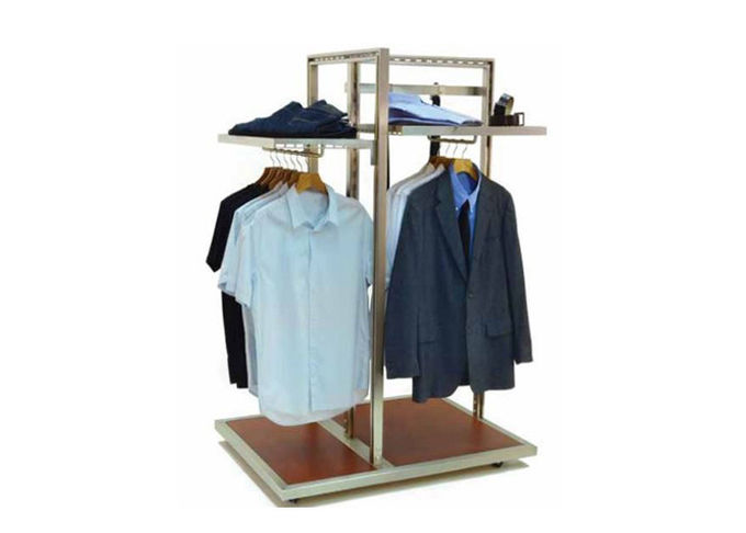 Floor Standing Garment Display Stand Modern Style Adjustable Shelf For Shopping Mall