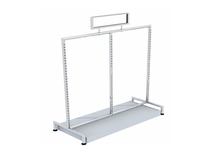 Round Tube Freestanding Clothes Rail  For Shopping Mall , Mobile Commercial Clothing Racks