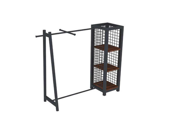 Customized Iron Coated Garment Display Stand With Wire Box One Side Modern Style