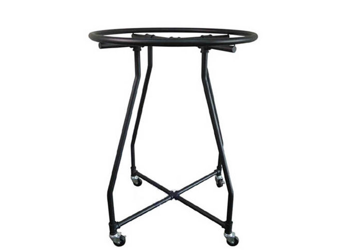 Special Matt Black Iron Tube Garment Display Stand With Wheels